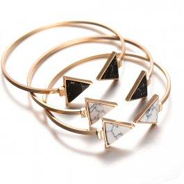 Otevřený náramek Mramorové trojuhelníky