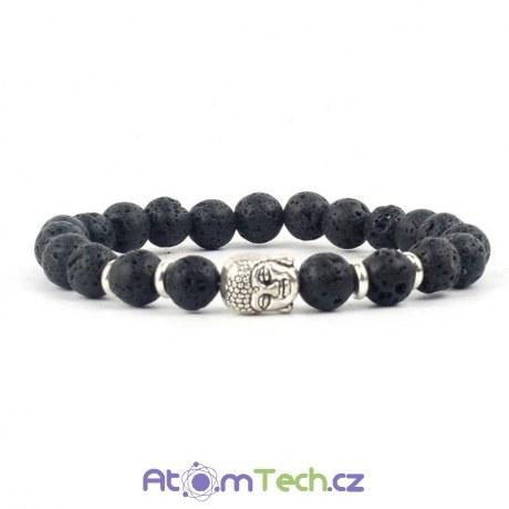 BUDDHA černý náramek s lávovými kameny (stříbrný)