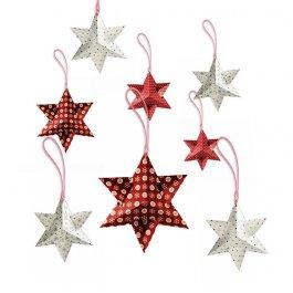 Vánoční hvězdy na zavěšení 8 ks