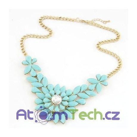 Květinový náhrdelník s matnými kameny
