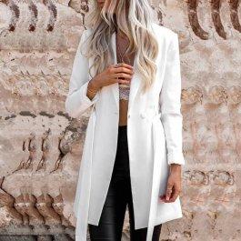 Luxusní dlouhé bílé sako