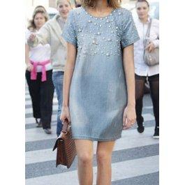 Džínové šaty s perličkami