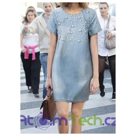 719d337caa5b Džínové šaty s perličkami