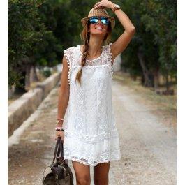 Volné krajkované šaty s bambulkami