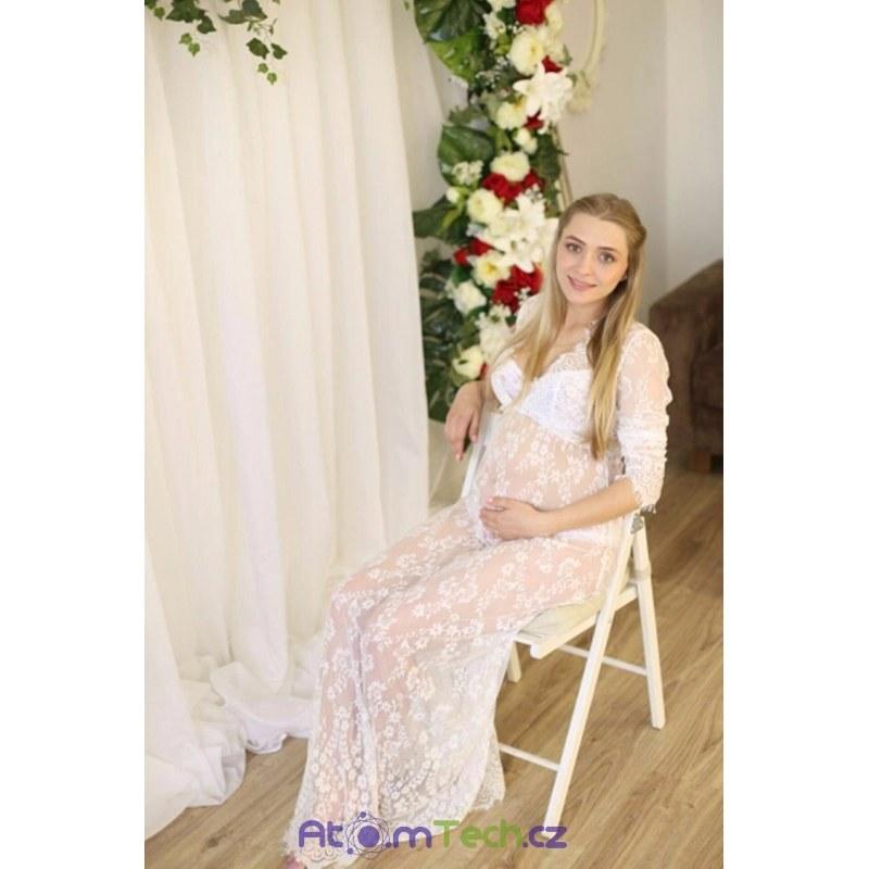 cbb97bb239f9 Těhotenské krajkované průhledné šaty