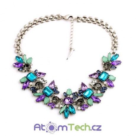 Modro-fialový statement náhrdelník