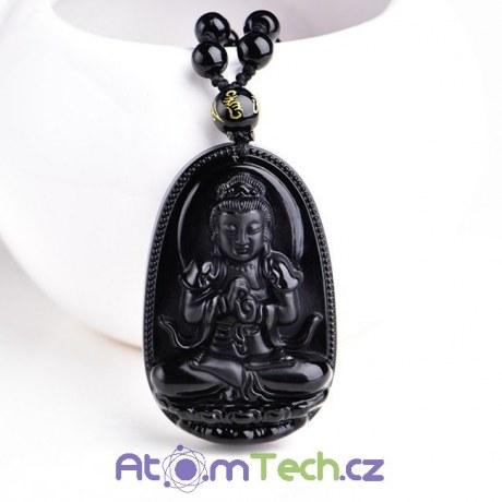 BUDDHA náhrdelník s Obsidiánem černým