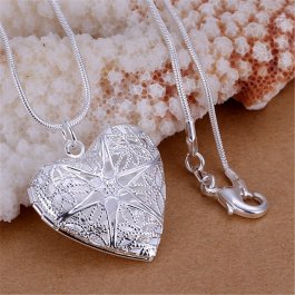 Náhrdelník Otvírací stříbrné srdce