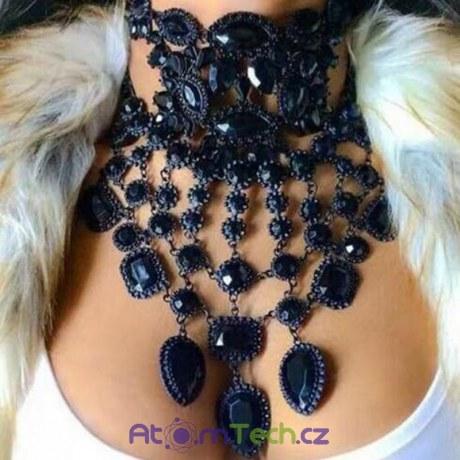 Černý extravagantní statement náhrdelník