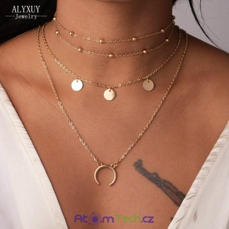 Čtveritý náhrdelník s přívěsky