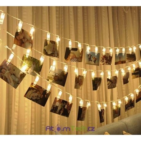 LED řetěz s kolíčky na fotky 1, 2, 5 m