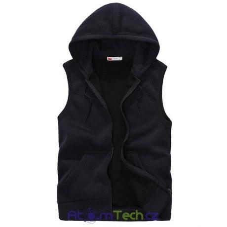 Pánská tepláková vesta s kapucí