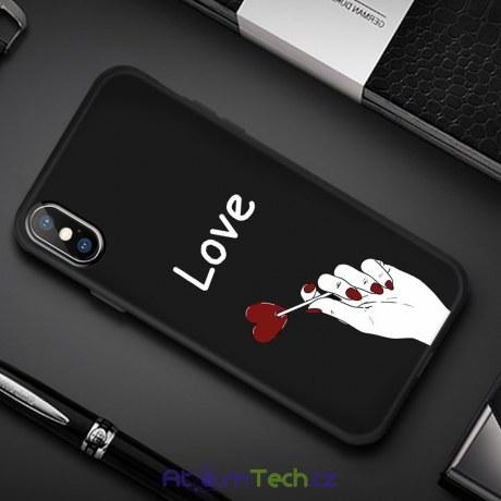 Černý kryt pro iPhone Love