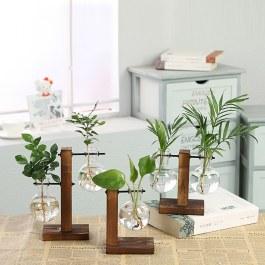 Hydroponické vázy na dřevěném stojanu