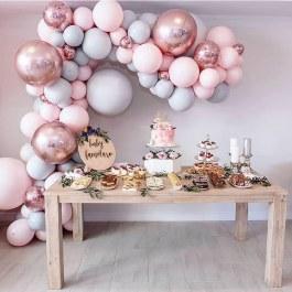 87 ks balonků 3 barev  - Růžovo, šedo, zlaté