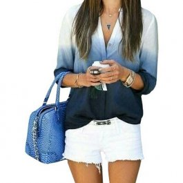 Ombré košile v odstínech modré