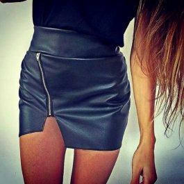 Koženková sukně se zipem