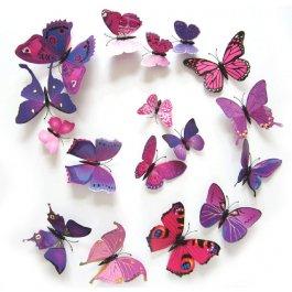 Motýli na zeď 12 ks