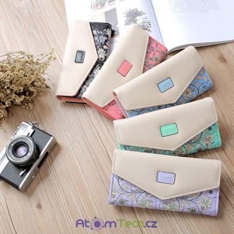 Stylová květovaná peněženka
