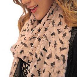 Šifonový šátek s kočičkami