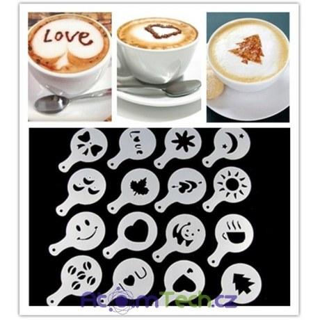 Zdobící šablony na kávu 16 kusů
