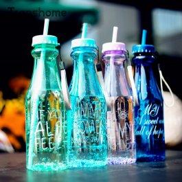 Letní lahev na vodu s brčkem